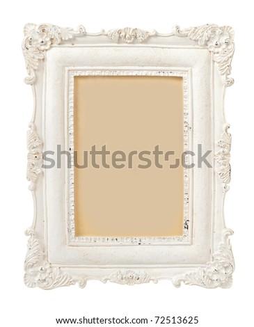 Vintage Plaster Frame isolated on white - stock photo