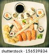Vintage Plate of Sushi - stock photo
