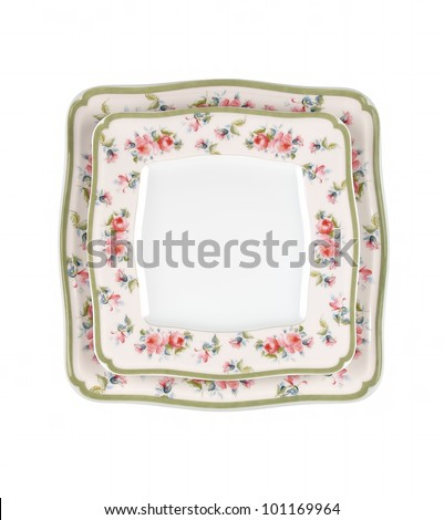 vintage plates isolated on white background - stock photo