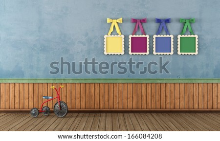 Vintage play room with tricycle e and colorful frame with bow- rendering - stock photo