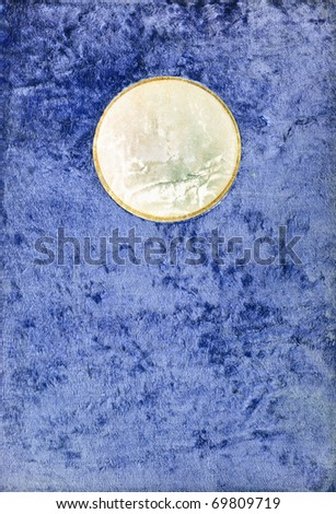 Vintage plush texture with a blank round leather label - stock photo