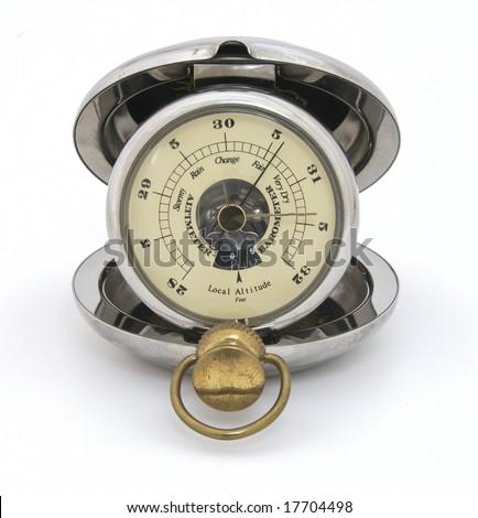 Vintage pocket barometer altimeter. Closeup, isolated - stock photo