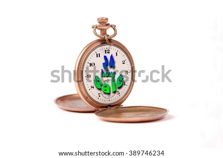 vintage pocket clock with text  - stock photo