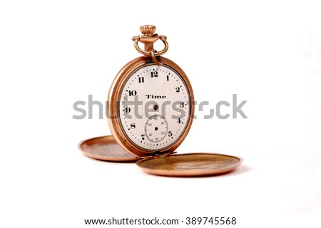 vintage pocket clock with text time on a clock face - stock photo