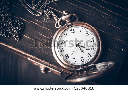 Vintage pocket watch - stock photo