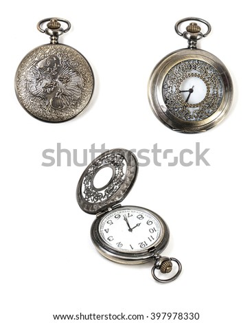 vintage pocket watch isolated on a white background - stock photo
