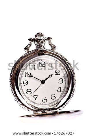 Vintage pocket watch isolated on white background
