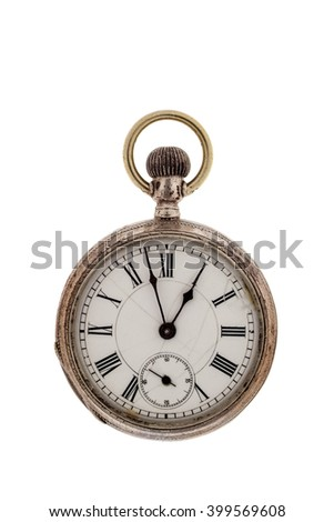 Vintage pocket watch on a white background.
