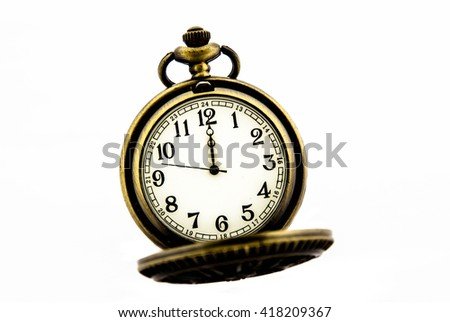 Vintage pocket watch on white background,Time concept