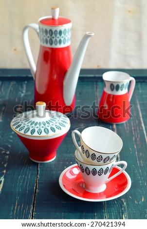 Vintage porcelain set, vertical - stock photo
