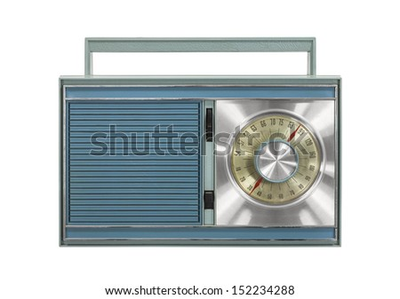 Vintage portable radio isolated with clipping path. - stock photo