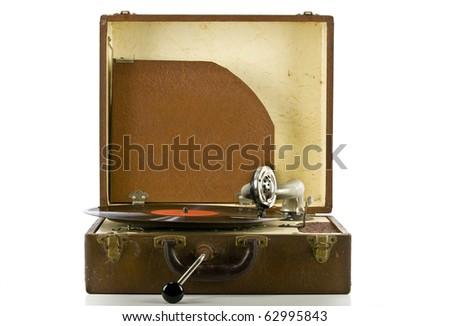 Vintage portable record record player - stock photo