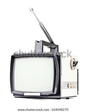 Vintage portable television set on white background - stock photo