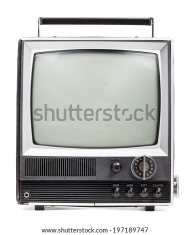 Vintage portable TV set on white background