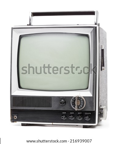Vintage portable TV set with handle on white background