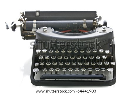 Vintage portable typewriter on white.
