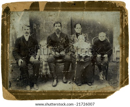 Vintage portrait,family of the cossacks,1891 year,Russia.
