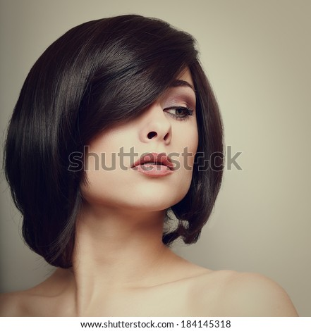 Vintage portrait of beautiful woman. Hair style. Makeup - stock photo