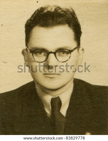 Vintage portrait of man (forties) - stock photo