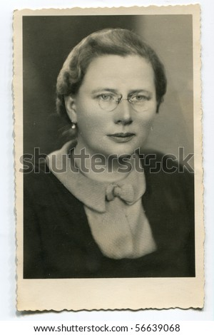 Vintage portrait of woman (twenties) - stock photo