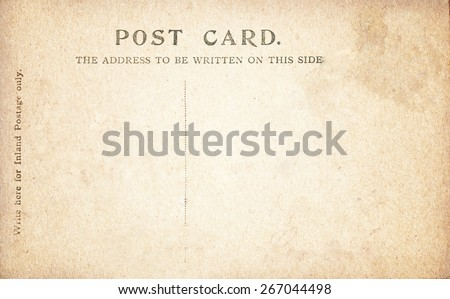 Vintage Post Card back. - stock photo