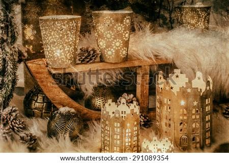 Vintage postage style Christmas image for the holiday season - stock photo