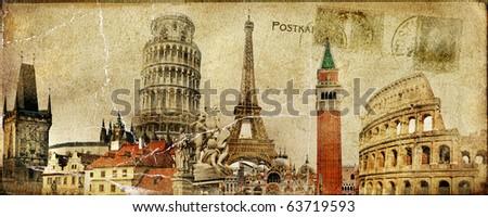 vintage postal card - european holidays - stock photo