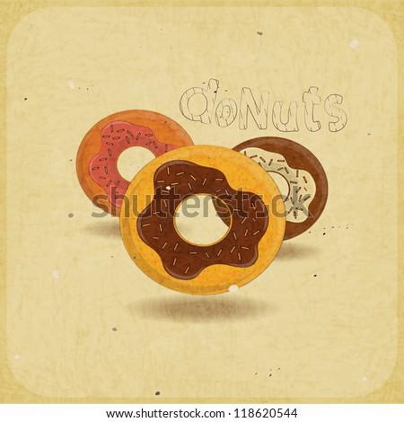 Vintage postcard, cover menu - donuts on vintage background - JPEG version - stock photo