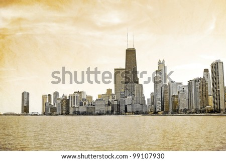 Vintage Postcard Design - Chicago - stock photo