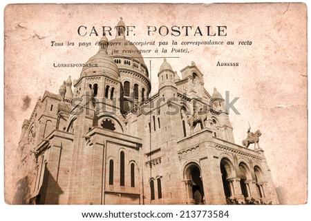 Vintage postcard, Montmartre, Paris France - stock photo