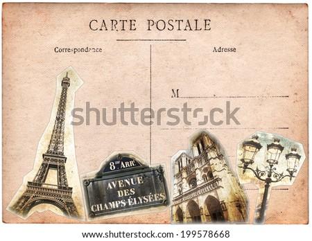 Vintage postcard, Paris collage - stock photo