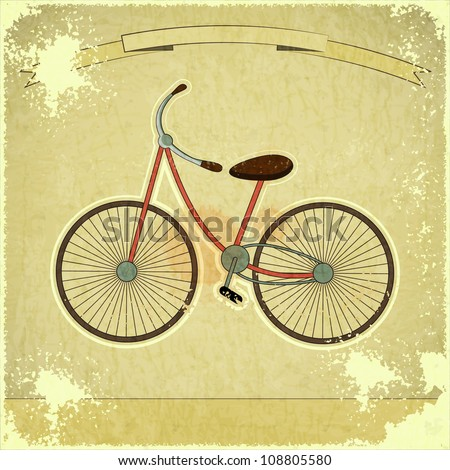 Vintage postcard - Retro bicycle on Grunge Background with Ribbon - JPEG version - stock photo