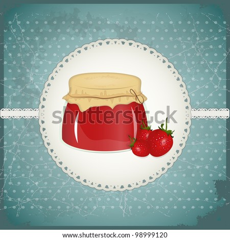 Vintage Postcard - strawberry jam on a retro background - JPEG version - stock photo