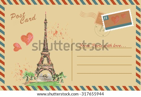Vintage postcard with Eiffel Tower,watercolor hand drawing