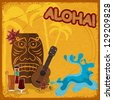 Vintage postcard with  featuring Hawaiian masks, guitars and cocktails. eps10 - stock photo