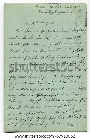 Vintage postcard with old-fashioned writing in German, 1901 - stock photo
