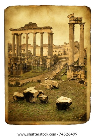 Vintage postcard with ruins of Roman forum - stock photo