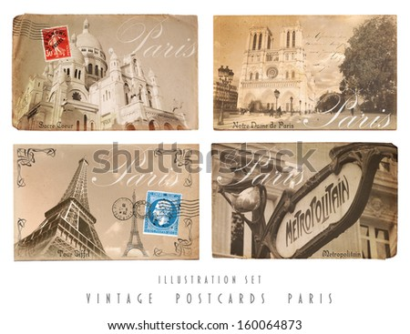 Vintage Postcards Set Paris