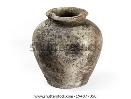 Vintage Pottery isolated on white background.  - stock photo