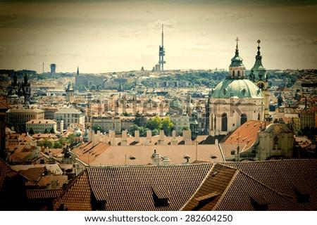 Vintage Prague Cityscape - stock photo
