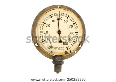 Vintage pressure gauge isolated against white - stock photo
