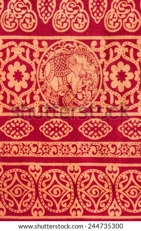 Vintage print fabric close up background. - stock photo
