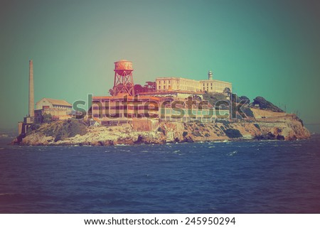 Vintage processed image of famous Alcatraz island penitentiary in San Francisco bay, California, U.S.A. - stock photo
