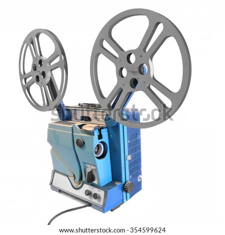 Vintage projector isolated on a white background. Retro old reel movie projector for cinema. - stock photo
