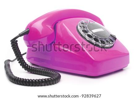 vintage purple telephone isolated over white background - stock photo