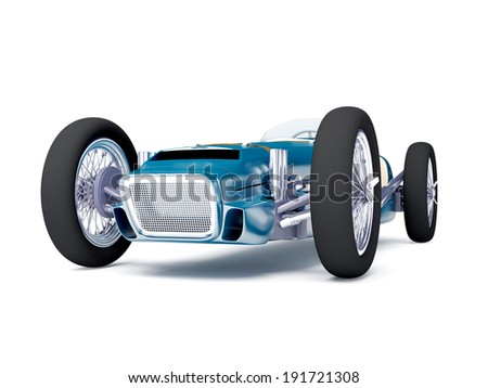 Vintage racing car of fifties, blue color on a white background - stock photo