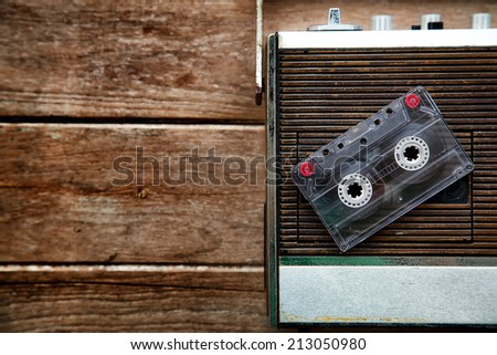 Vintage radio and Cassette Tape - stock photo