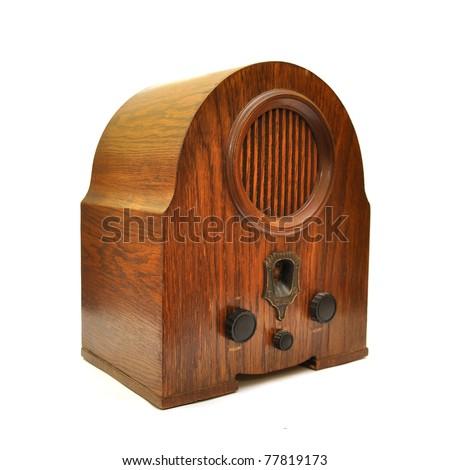 Vintage radio device over a white background - stock photo