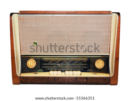 Vintage radio isolated. Clipping path included. - stock photo