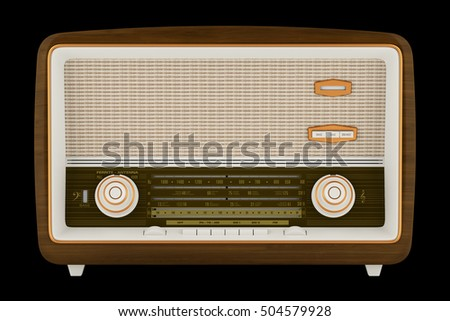 vintage radio isolated on black background. 3d illustration